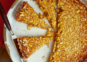 Honey-Almond Tart with Orange Mascarpone via Vegetarian Times